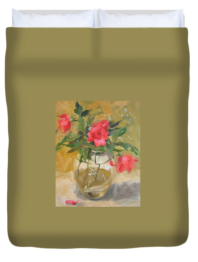 Wild Roses Duvet Cover featuring the painting Wild Roses by Margaret Aycock
