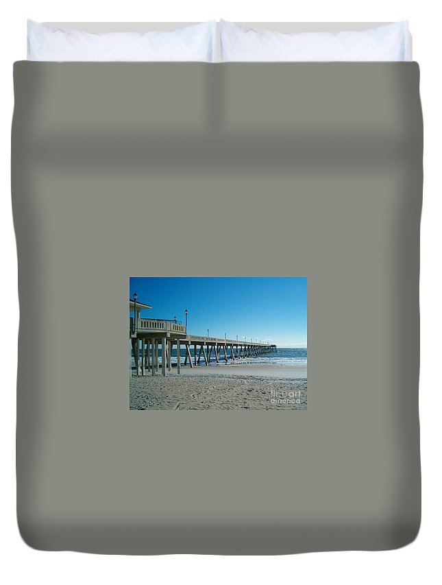 Willmington Nc Pier Duvet Cover featuring the photograph Willmington Nc Pier by Tommy Anderson