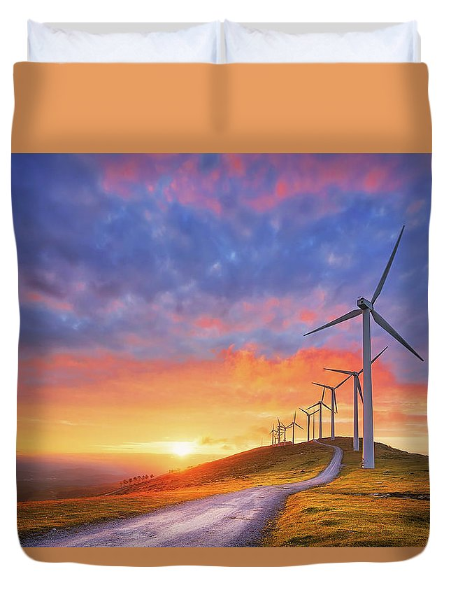 Turbine Duvet Cover featuring the photograph wind turbines in Oiz eolic park by Mikel Martinez de Osaba