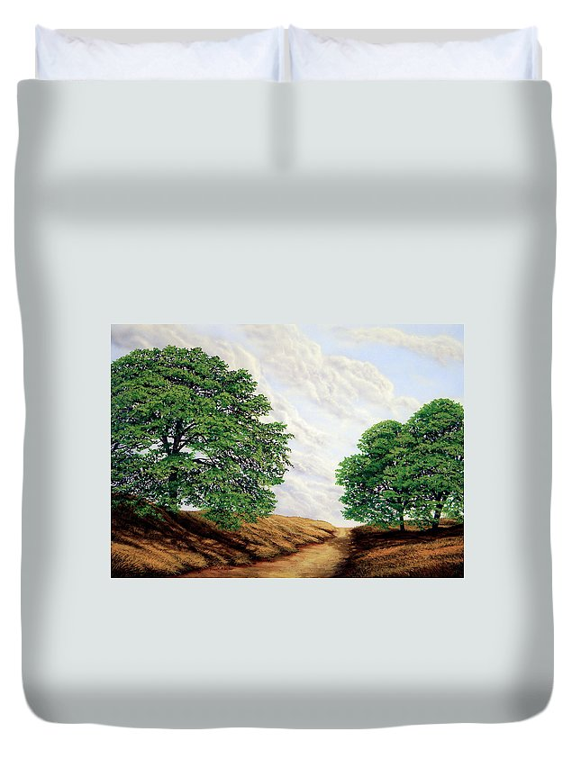 Windblown Clouds Duvet Cover featuring the painting Windblown Clouds by Frank Wilson