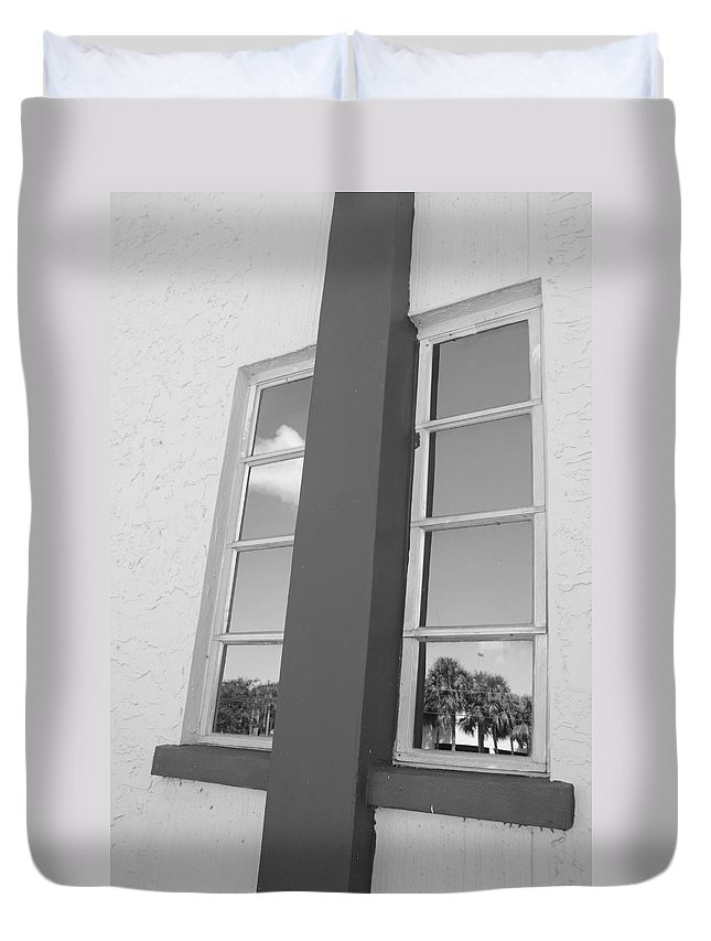 Black And White Duvet Cover featuring the photograph Window T Glass by Rob Hans