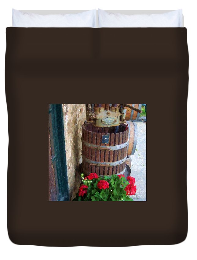 Geraniums Duvet Cover featuring the photograph Wine And Geraniums by Debbi Granruth