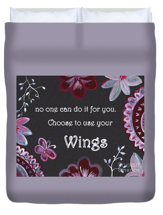 Quotes Duvet Cover featuring the painting Wings by Sweeping Girl