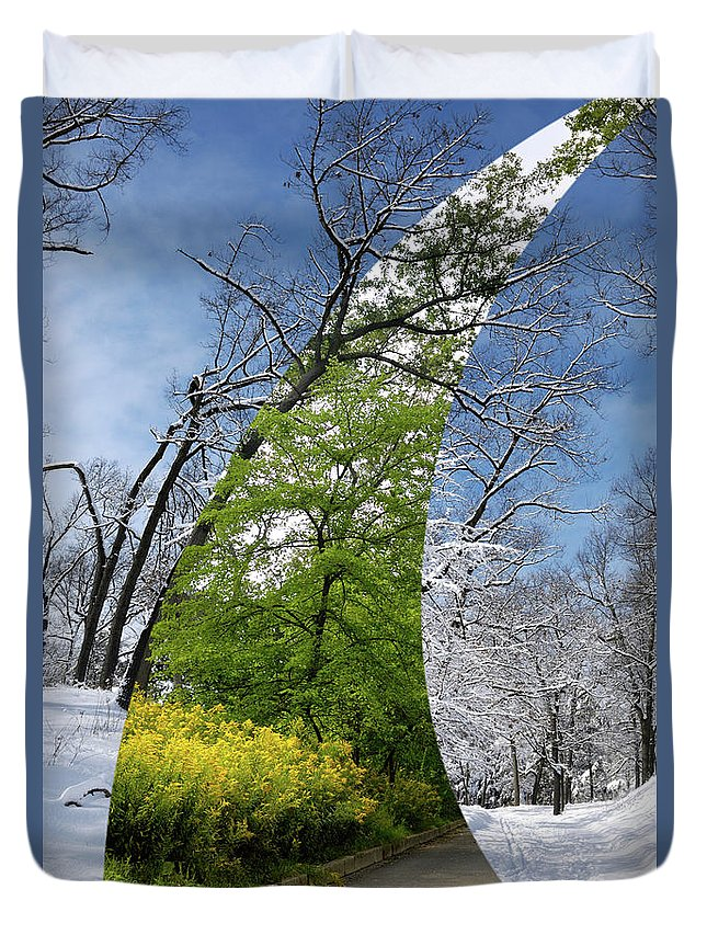 Winter Duvet Cover featuring the photograph Winter And Summer by Oleksiy Maksymenko