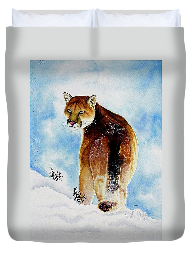 Cougar Duvet Cover featuring the painting Winter Cougar by Jimmy Smith