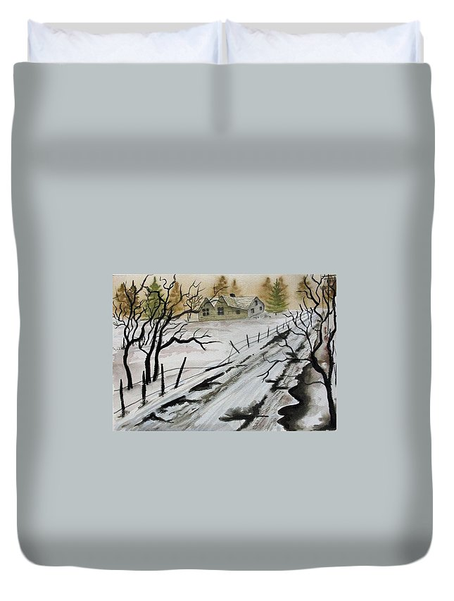 Building Duvet Cover featuring the painting Winter Farmhouse by Jimmy Smith