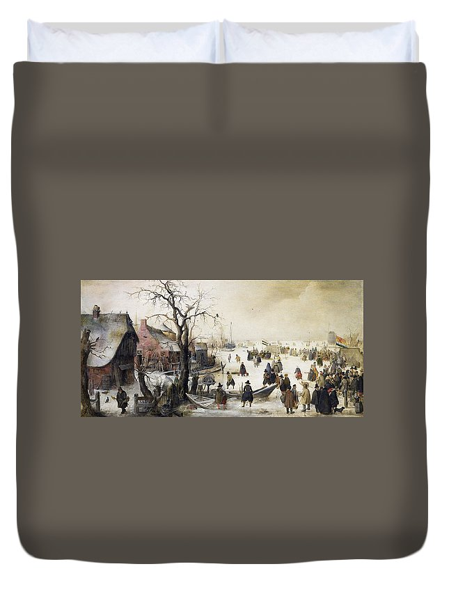 Painting Duvet Cover featuring the painting Winter Scene On A Canal by Hendrick Avercamp