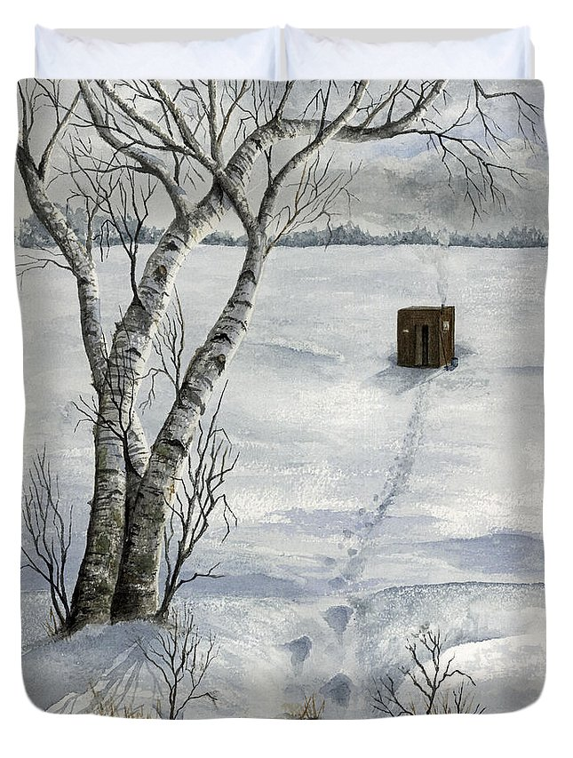 Fishing Duvet Cover featuring the painting Winter Splendor by Mary Tuomi