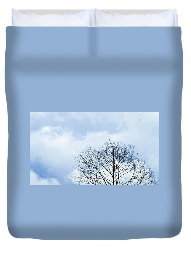 Winter Fall White Sky Duvet Cover featuring the photograph Winter Tree by Adelista J
