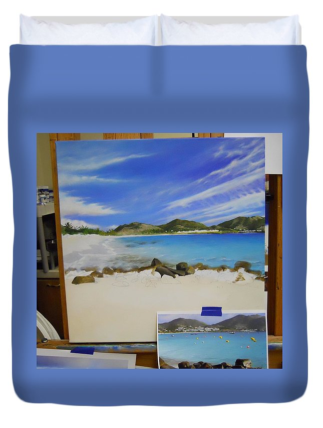 Duvet Cover featuring the painting Wip- Orient Beach by Cindy D Chinn