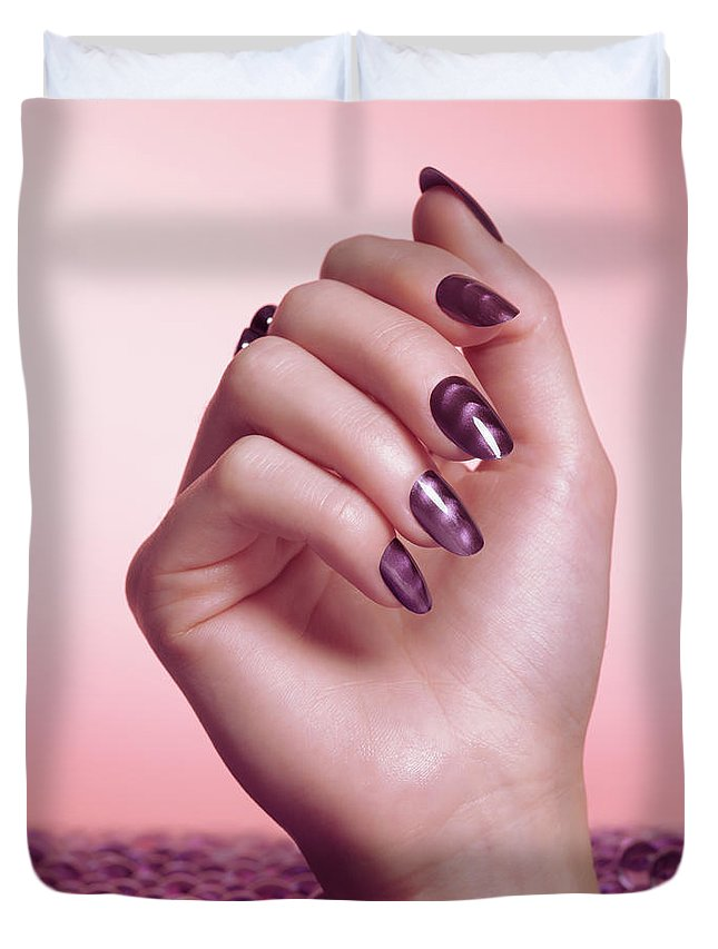 Manicure Duvet Cover featuring the photograph Woman Hand With Purple Nail Polish by Oleksiy Maksymenko