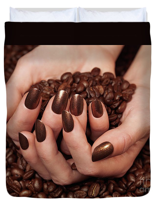 Coffee Duvet Cover featuring the photograph Woman Holding Coffee Beans In Her Hands by Oleksiy Maksymenko