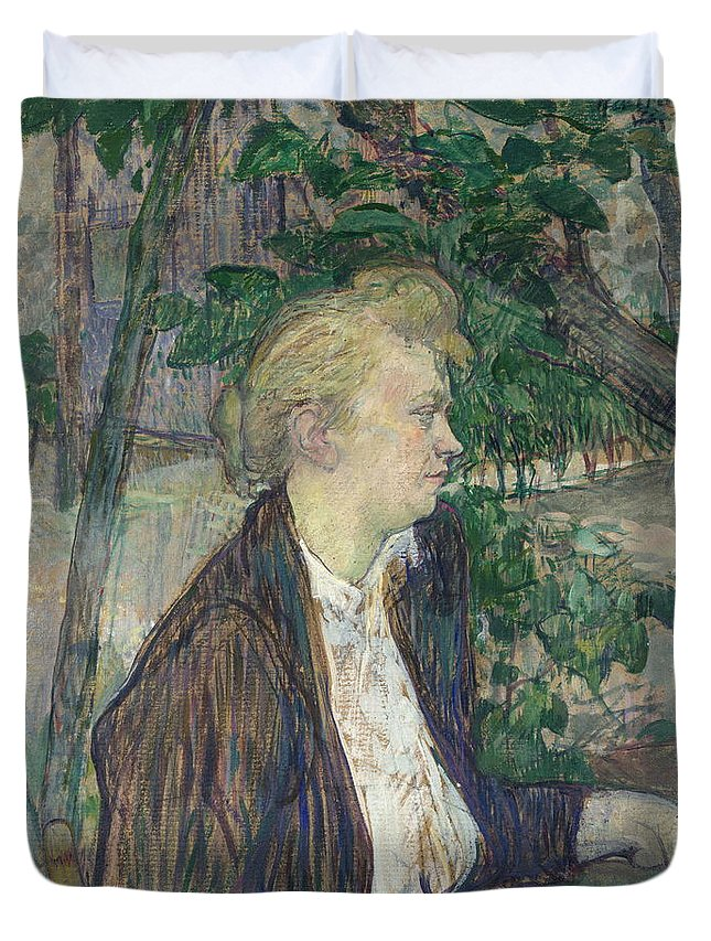 Summer Duvet Cover featuring the painting Woman Seated In A Garden by Henri De Toulouse Lautrec