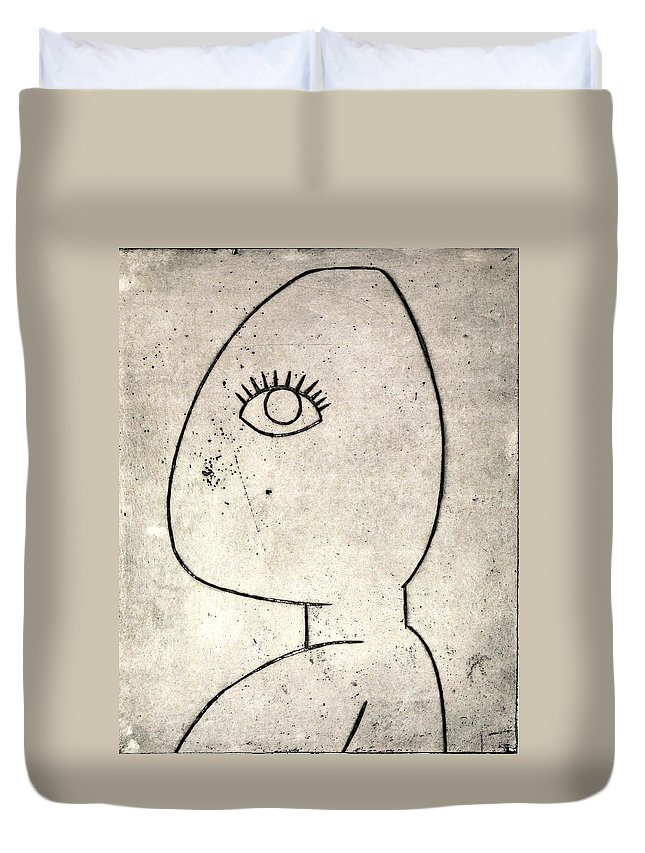 Clay Duvet Cover featuring the painting Woman by Thomas Valentine
