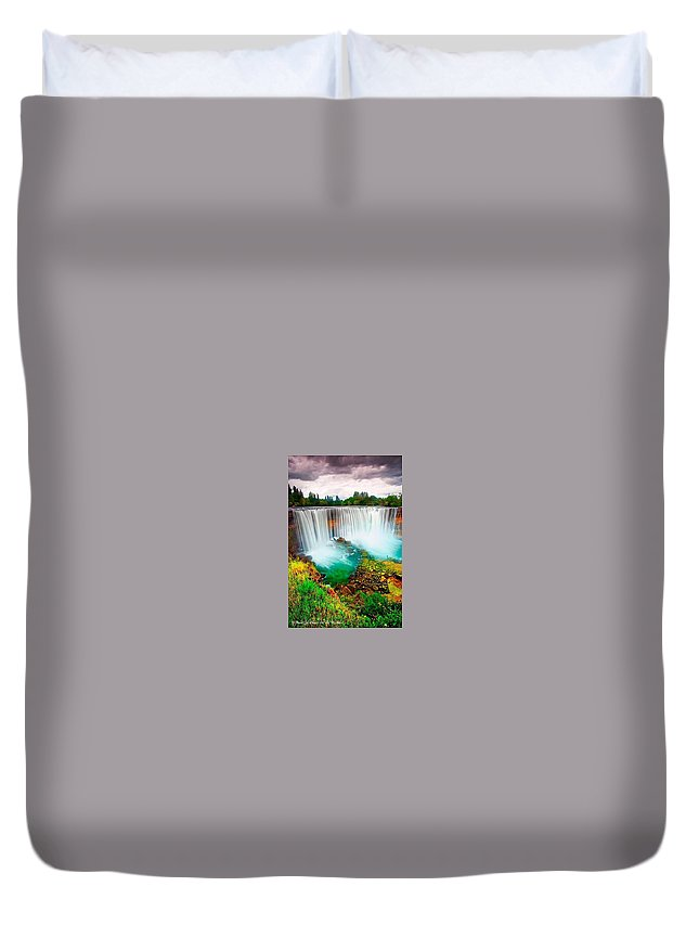 Waterfall Duvet Cover featuring the photograph Wonderful Places In The World by Ola Arts