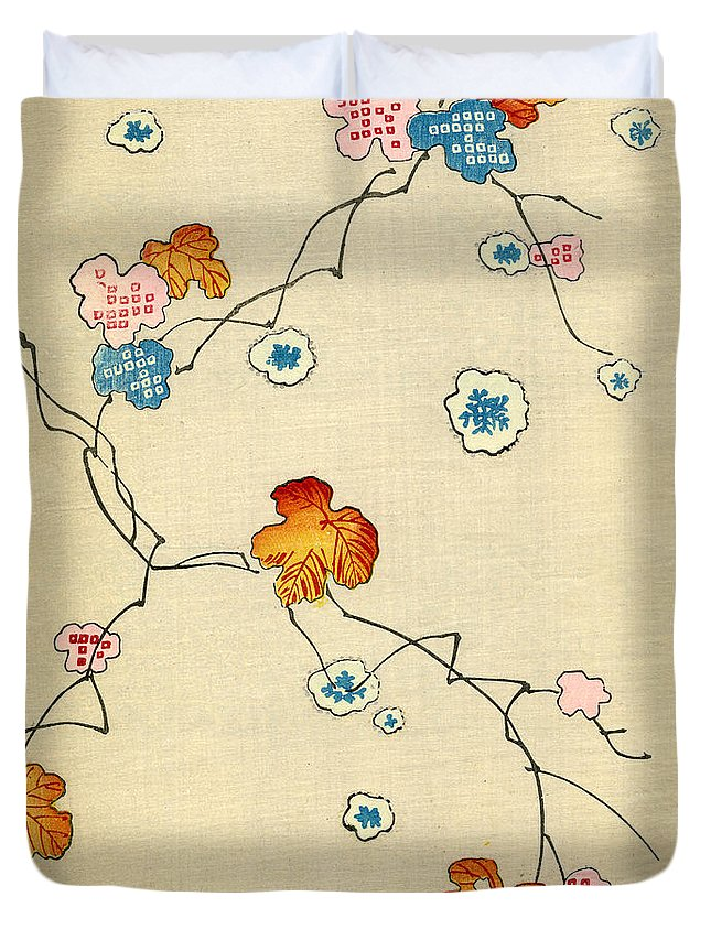 Vintage; Illustration; Graphic Design; Pattern; Japanese; 1880; Woodblock Print; Nobody; Meiji; Kimono; Textile Design; Pattern Book; Fall; Leaves; Tree; Branch; Autumn; Snowflake Duvet Cover featuring the painting Woodblock Print of Fall Leaves by Japanese School