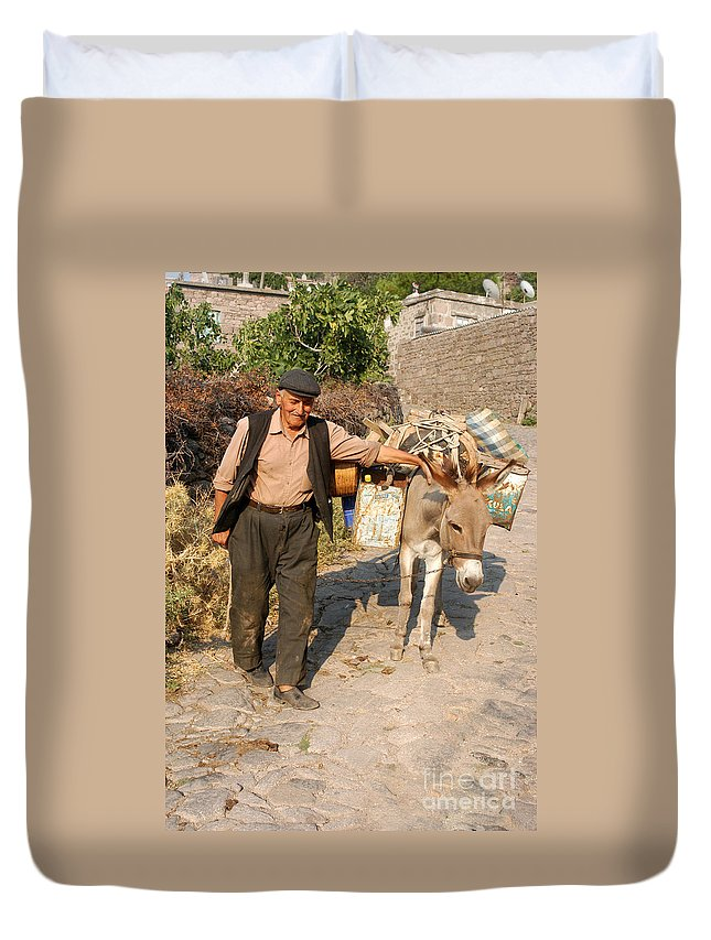 Ayvacik Assos Behramkale Turkey Village Villages Street Streets Pack Animal Donkey Mule Donkeys Mules Burro Burros Animals Creature Creatures Man Men Person Persons People City Cities Cityscape Cityscape Village Villages Duvet Cover featuring the photograph Working Buddies by Bob Phillips