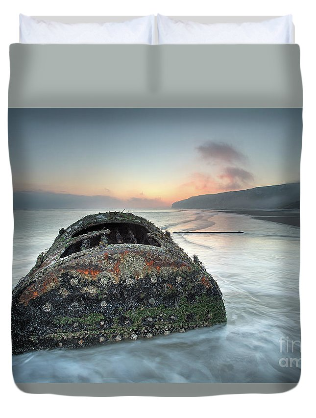 Ship Duvet Cover featuring the photograph Wreck Of Laura - Filey Bay - North Yorkshire by Martin Williams