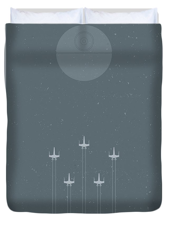 X-wing Duvet Cover featuring the digital art X-wing Attack by Samuel Whitton