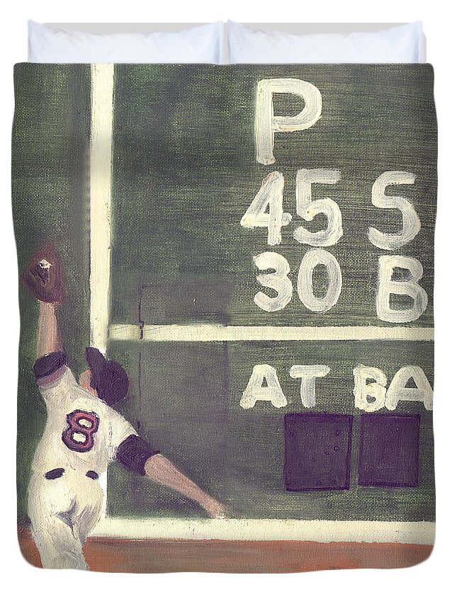 Baseball Duvet Cover featuring the painting Yaz And The Green Monster by Jorge Delara