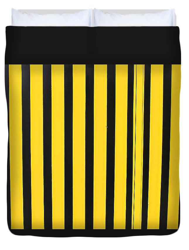Stripe Duvet Cover featuring the photograph Yellow And Black Stripes by Robert Hamm