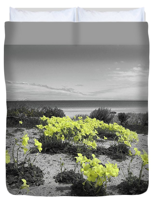 Flowers Duvet Cover featuring the photograph Yellow by Douglas Barnard