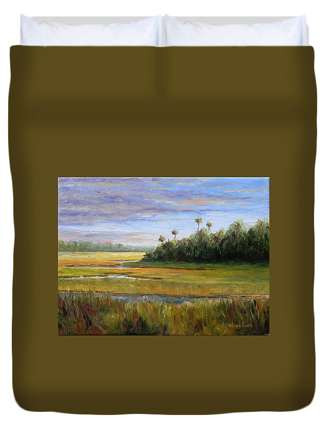 Marsh Duvet Cover featuring the painting Yellow Marsh by Beth Maddox