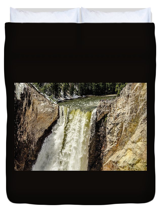 Spring Duvet Cover featuring the photograph Yellowstone Falls by Yeates Photography