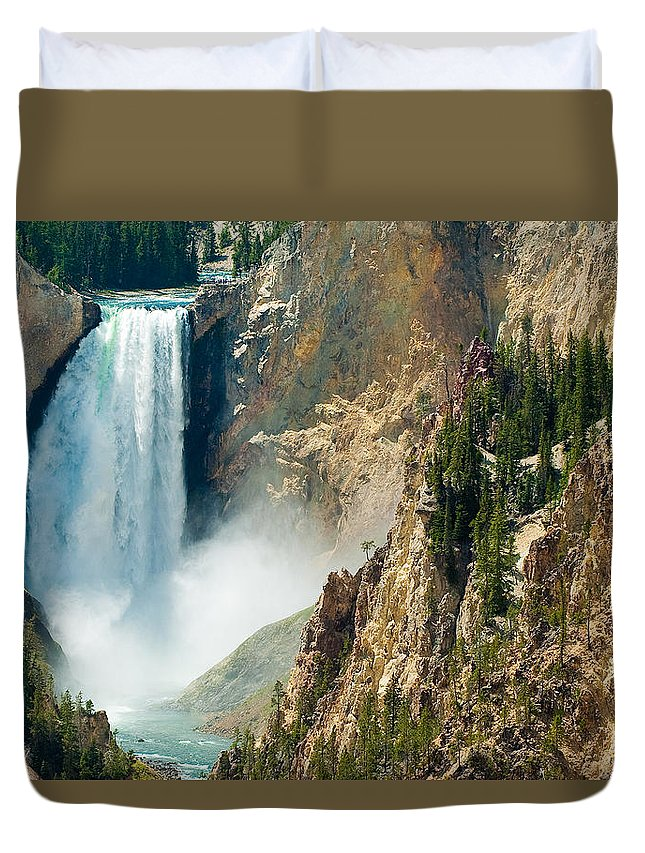 Yellowstone Duvet Cover featuring the photograph Yellowstone Waterfalls by Sebastian Musial