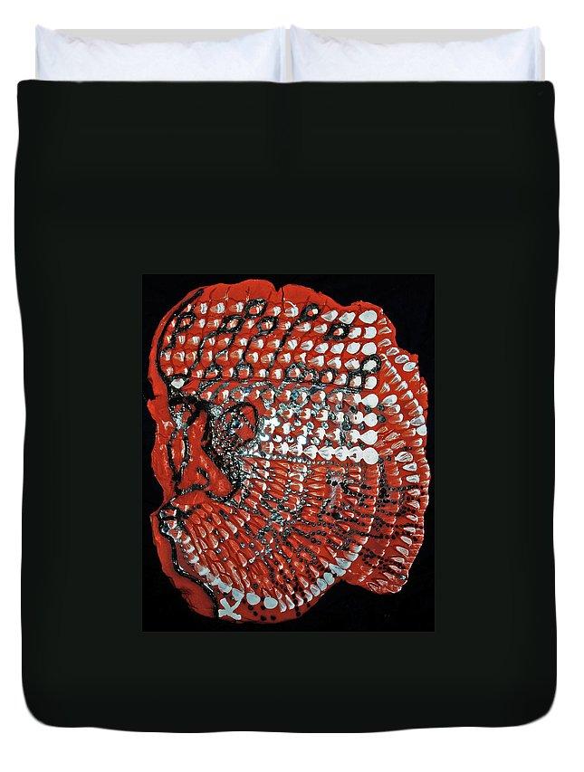 Jesus Christ Duvet Cover featuring the ceramic art Yesu Cristu by Gloria Ssali