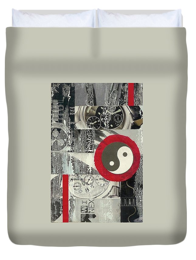 Black Duvet Cover featuring the mixed media Ying Yang by Desiree Paquette