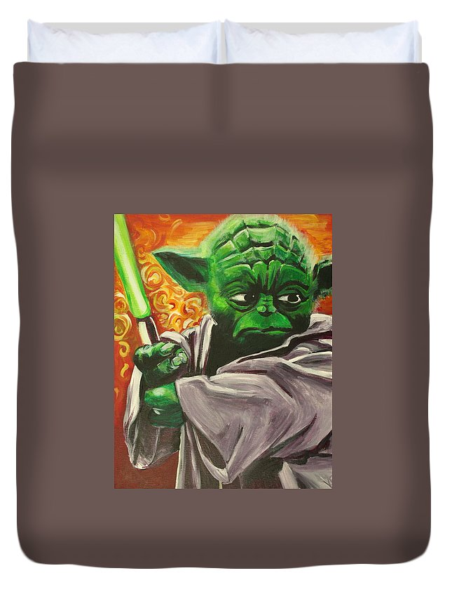 Yoda Duvet Cover featuring the painting Yoda by Kate Fortin