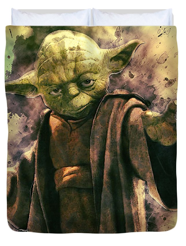 Yoda Duvet Cover featuring the digital art Yoda by Zapista Zapista
