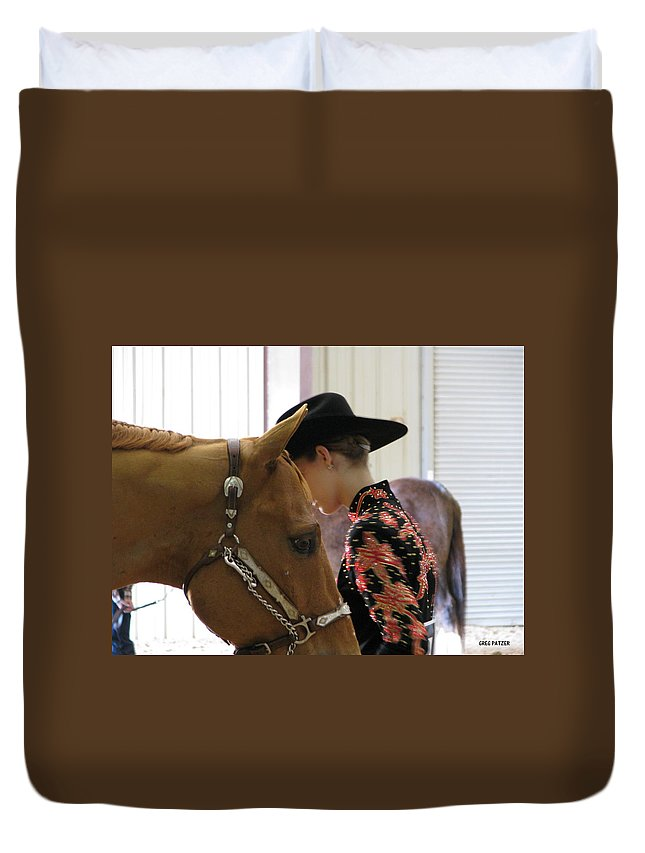 Patzer Duvet Cover featuring the photograph You Pray I Pray by Greg Patzer