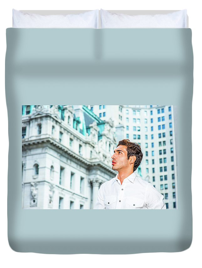Young Duvet Cover featuring the photograph Young American Businessman Looking For Success. by Alexander Image