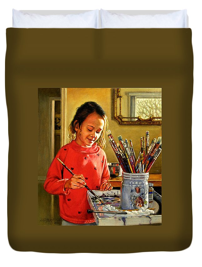 Young Girl Painting Duvet Cover featuring the painting Young Artist by John Lautermilch