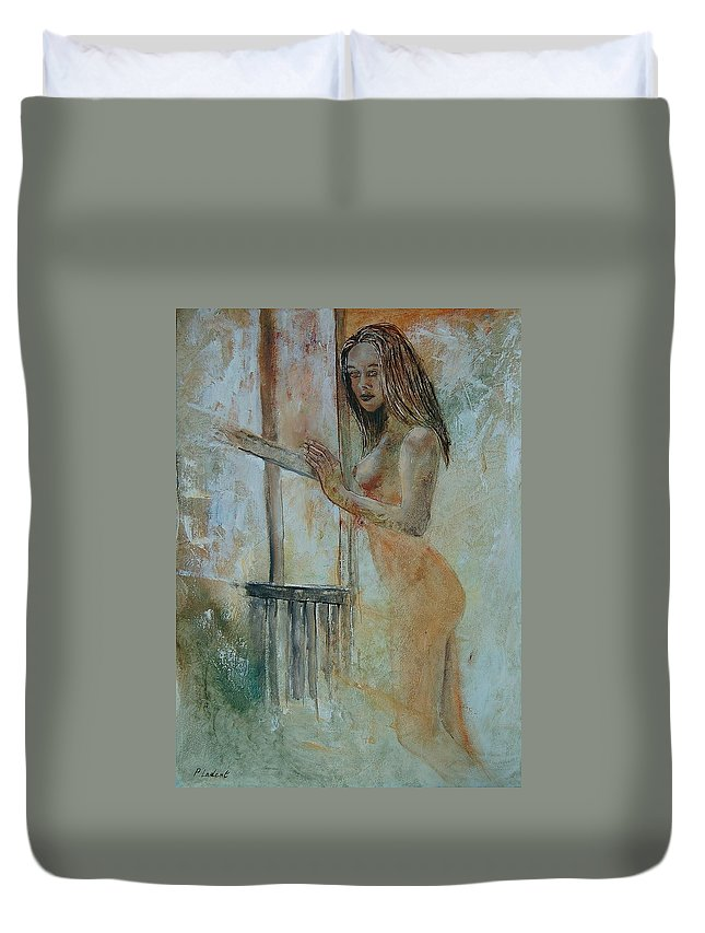 Gir Duvet Cover featuring the painting Young Girl 57905062 by Pol Ledent