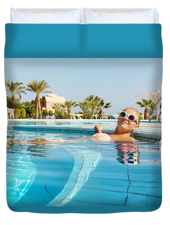Female Duvet Cover featuring the photograph Young Woman Enjoying Warm Water In Pool by Nikita Buida