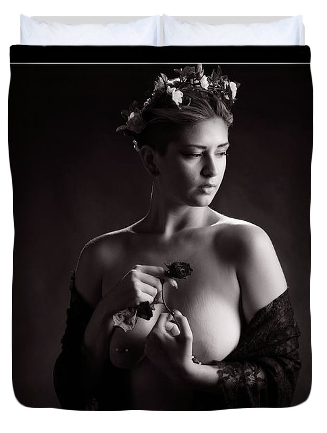 Nude Duvet Cover featuring the photograph Young Woman Nude 1729.555 by Kendree Miller