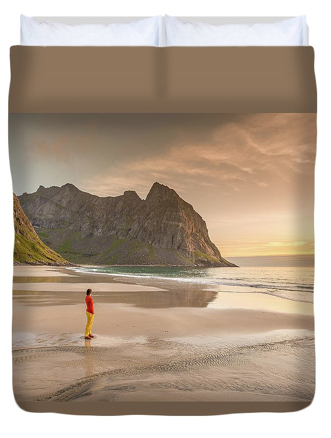 Kvalvika Duvet Cover featuring the photograph Your Own Beach by Alex Conu
