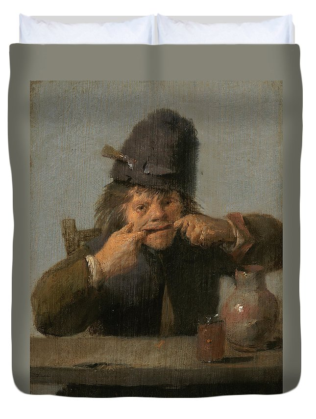 Adriaen Brouwer Duvet Cover featuring the painting Youth Making A Face by Adriaen Brouwer