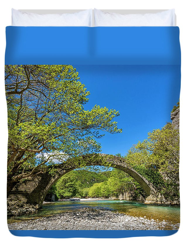Europe Duvet Cover featuring the digital art Zagora Traditional Bridge by Tsafreer Bernstein