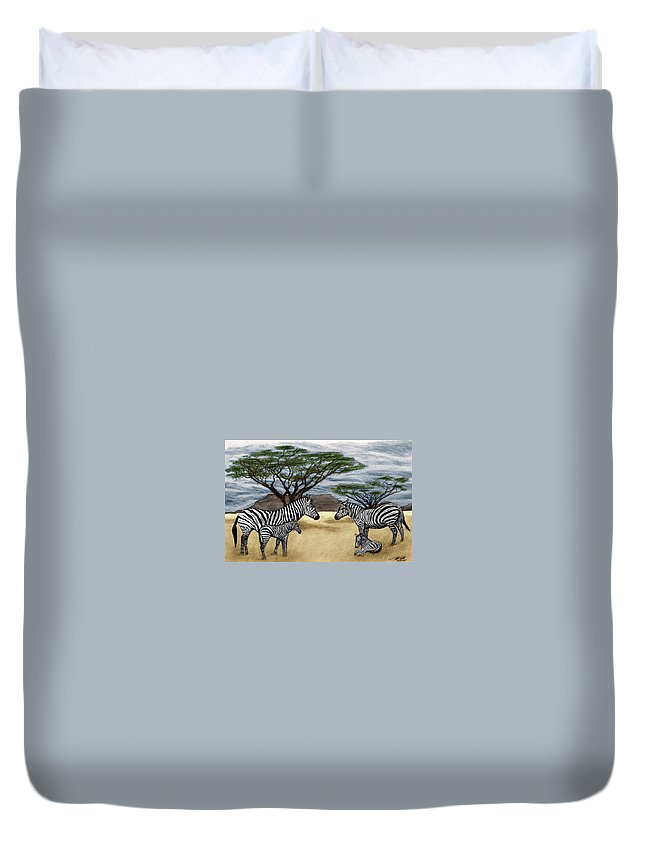 Zebra African Outback Duvet Cover featuring the drawing Zebra African Outback by Peter Piatt