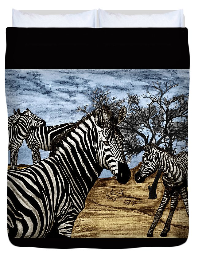 Zebra Outback Duvet Cover featuring the drawing Zebra Outback by Peter Piatt