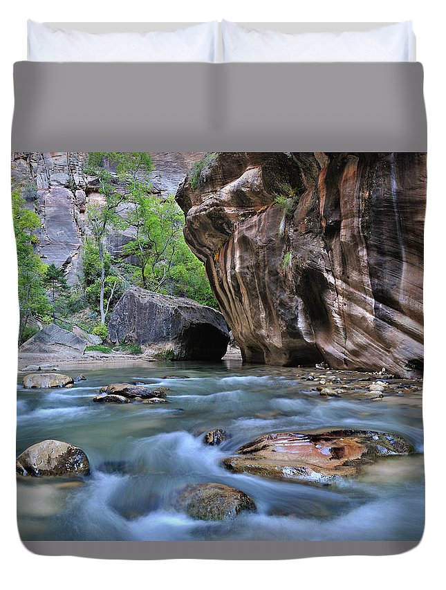 The Narrows Duvet Cover featuring the photograph Zion National Park Narrows by Dean Hueber