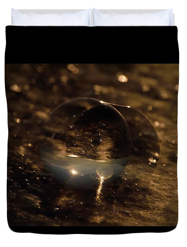 Don't Drop The Crystal Ball Duvet Cover featuring the photograph 10-17-16--8634 The Moon, Don't Drop The Crystal Ball, Crystal Ball Photography by Vicki Hall