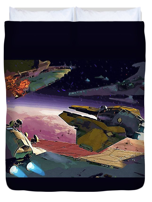 Star Wars For Duvet Cover featuring the digital art A Star Wars Poster by Larry Jones