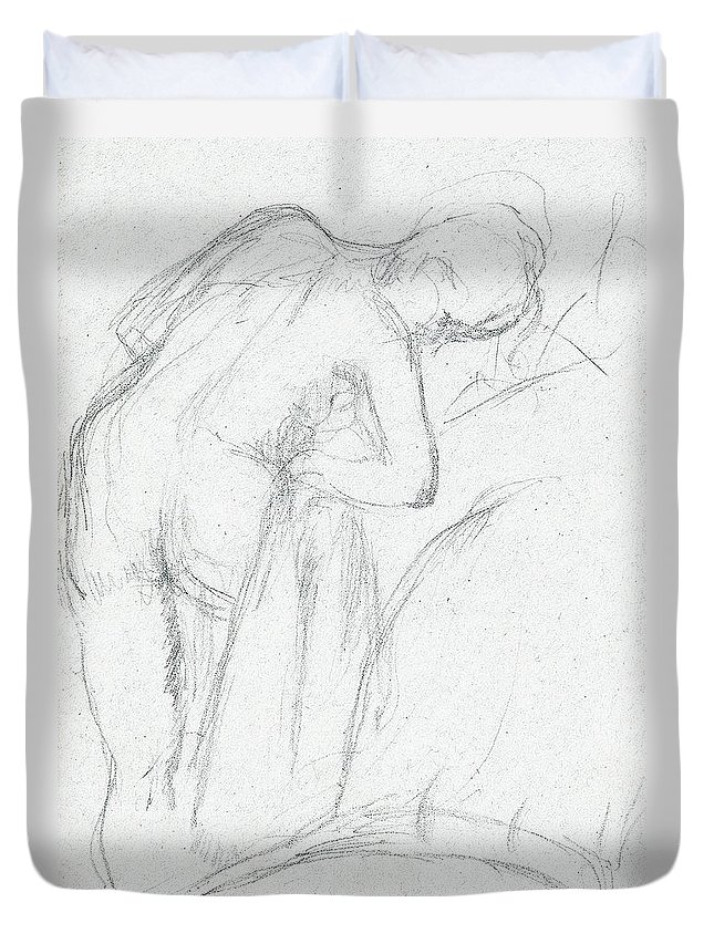 Degas Duvet Cover featuring the drawing After The Bath by Edgar Degas
