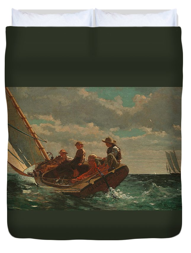 Winslow Homer Duvet Cover featuring the painting Breezing Up by Winslow Homer