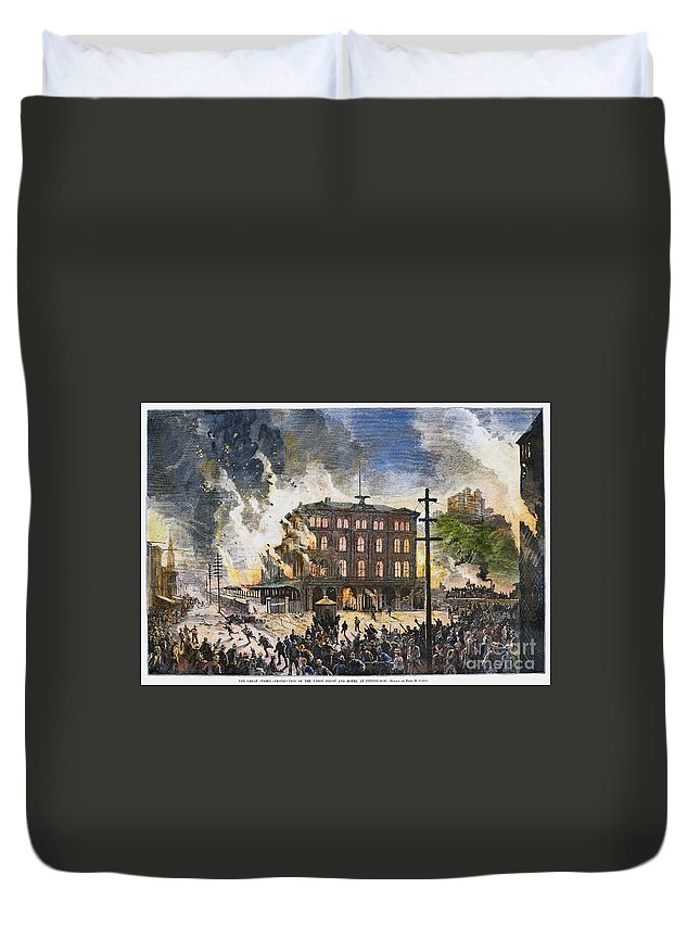 1877 Duvet Cover featuring the photograph Great Railroad Strike, 1877 by Granger